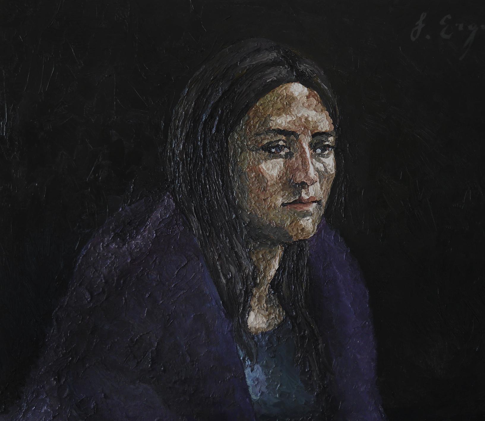 girl portrait oil on canvas by serkan ergun