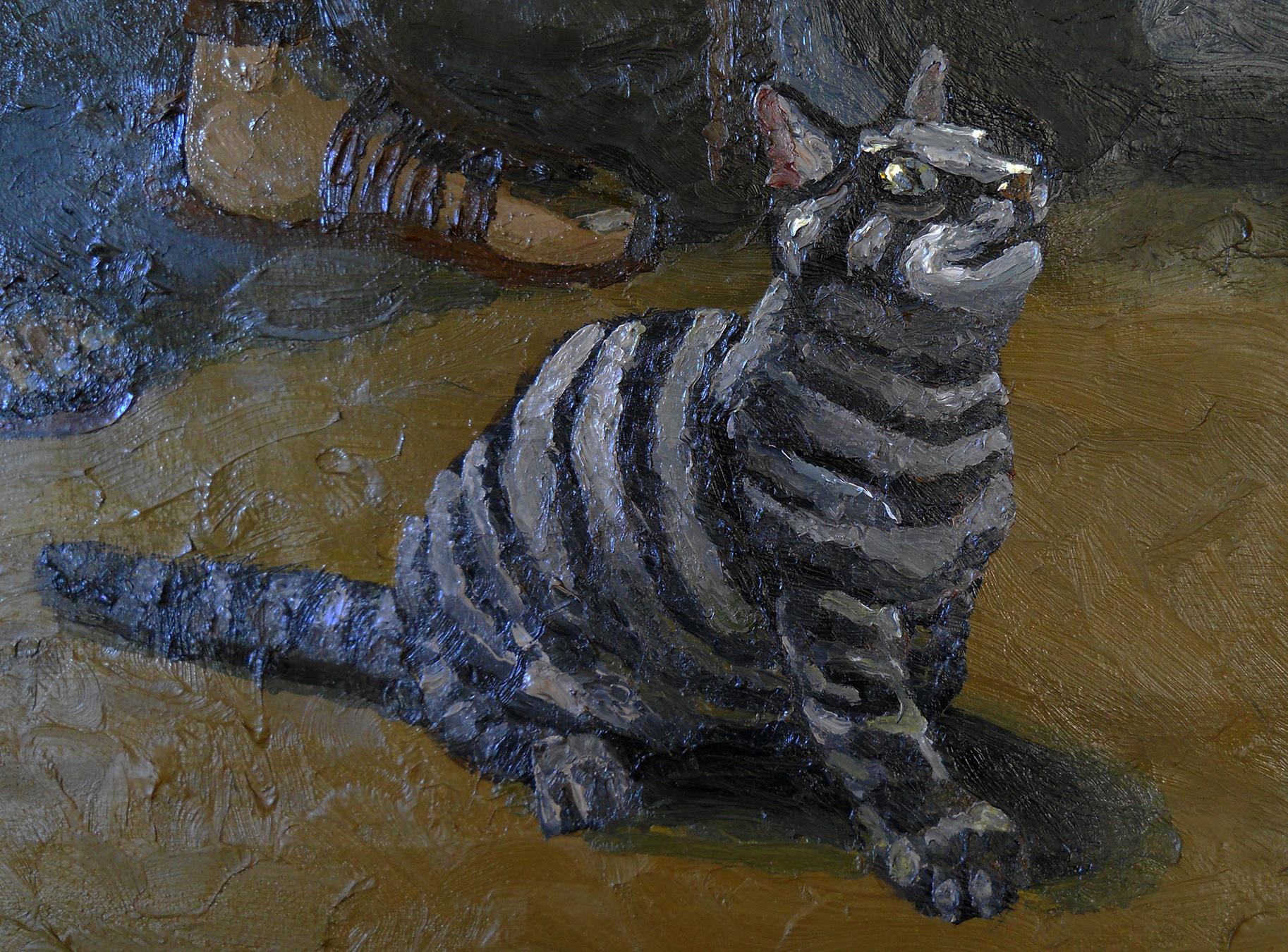 cat oil painting serkan ergun