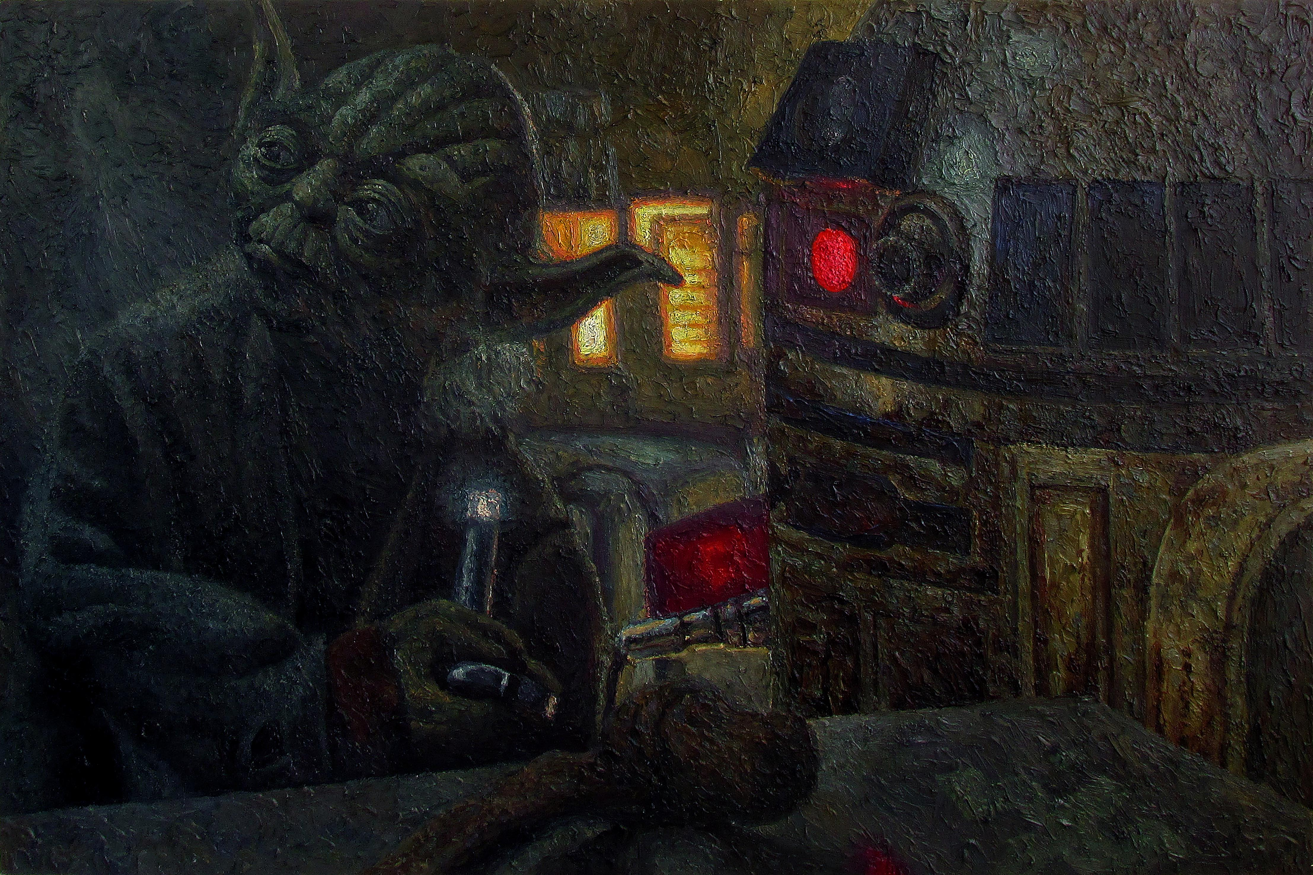 yoda empire strikes back by serkan ergun oil painting