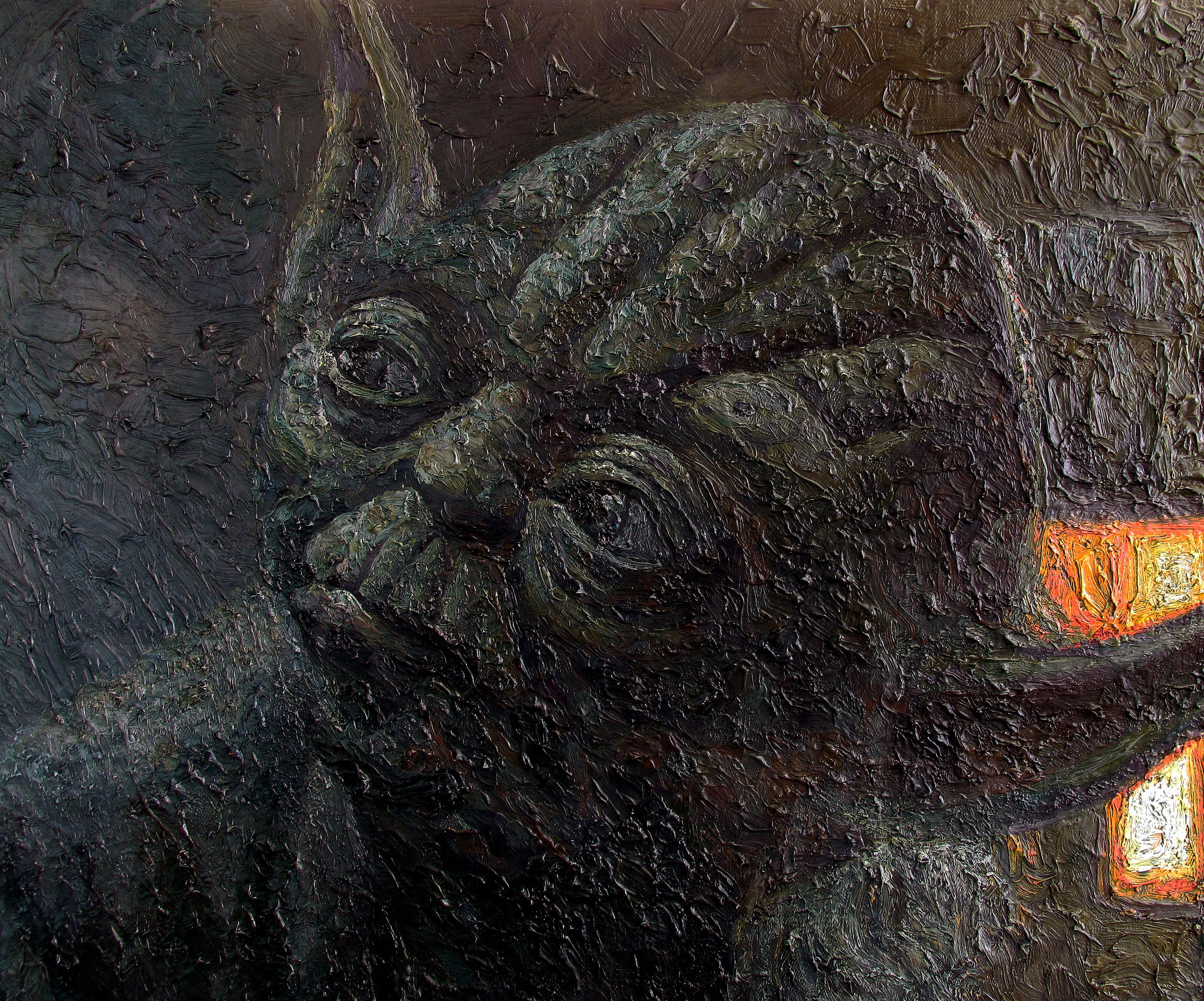 yoda empire strikes back oil painting by serkan ergun