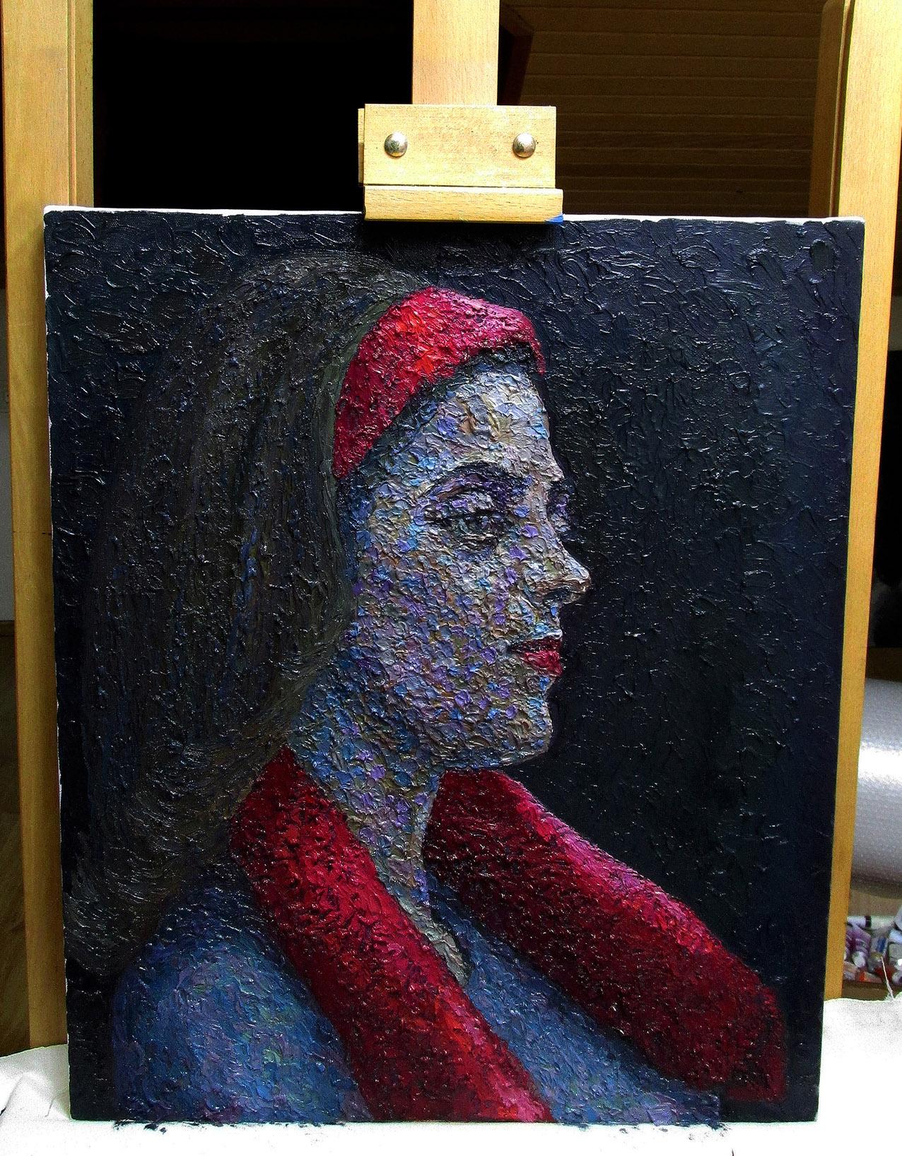 serkan ergun oil painting red bandana girl