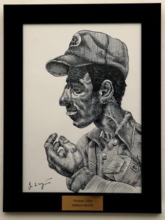 """""""POSTMAN"""", sketch & oil, (2015)"""
