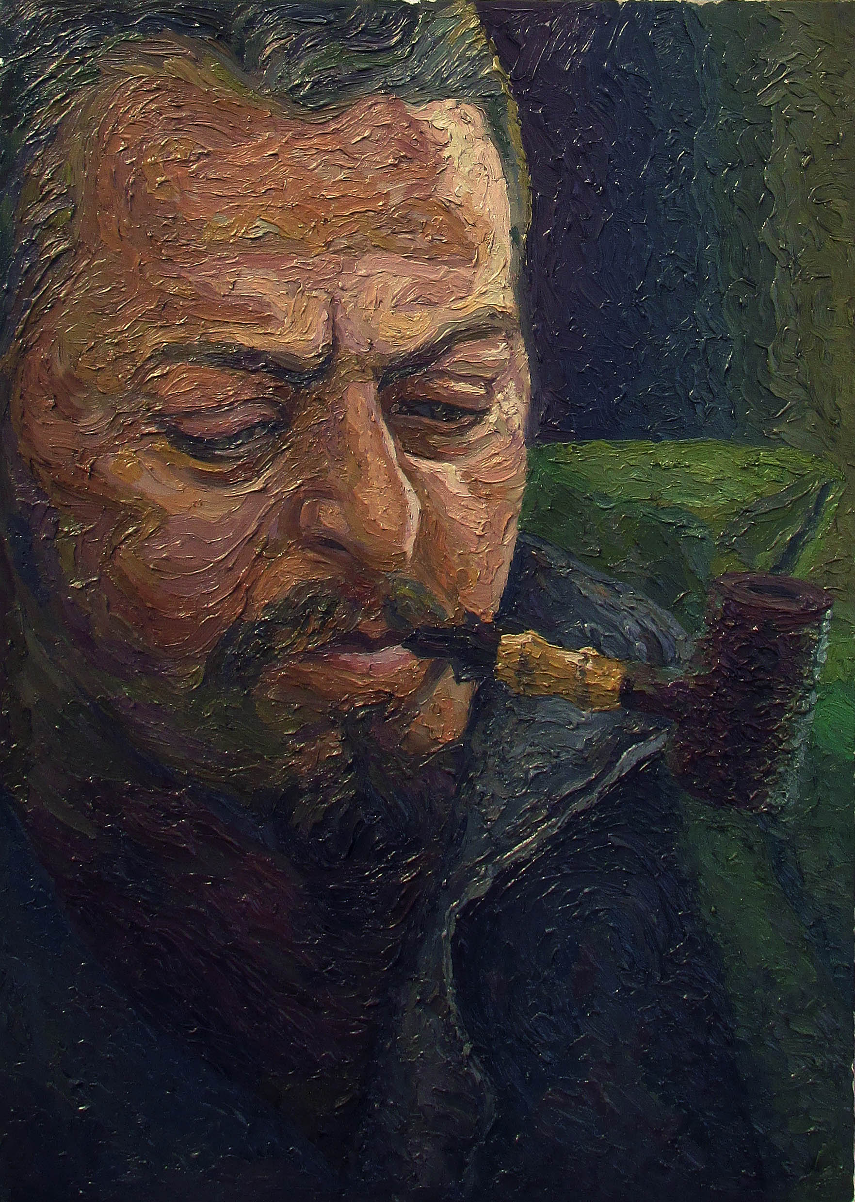 kenan ahmet pipe master oil portrait