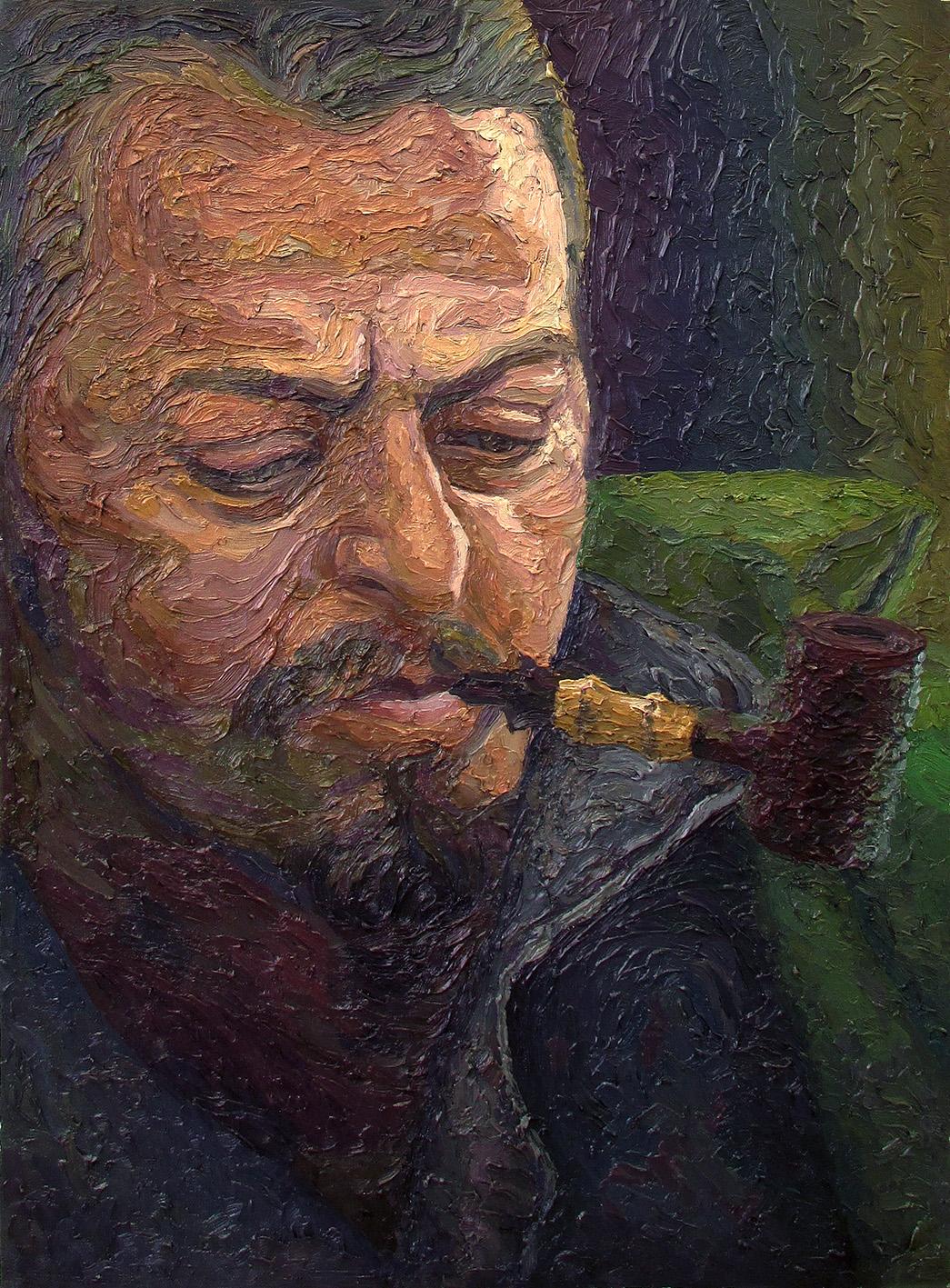 serkan ergun oil painting kenan ahmet pipe master portrait